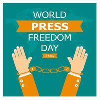 cartaz do dia mundial da liberdade de imprensa com algemas vetor