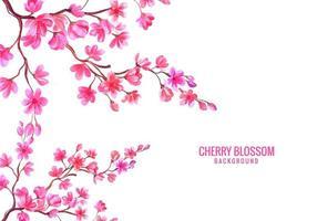 fundo de flor de cerejeira floral rosa aquarela vetor