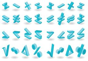 Pacote vectorial de símbolos matemáticos isométricos vetor