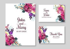 conjunto de convite de casamento buquê roxo rosa vetor