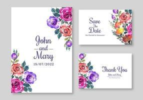 conjunto de cartão de convite de casamento flor floral