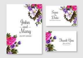 conjunto de cartão de convite de casamento floral rosa e roxo vetor