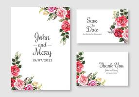 conjunto de cartões de casamento floral colorido