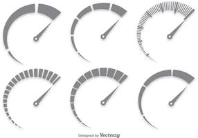 Conjunto de vetores do tacômetro cinzento