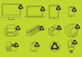 Vector eletrônico de ícones de reciclagem