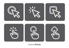 Conjunto de ícones do vetor clicar no mouse
