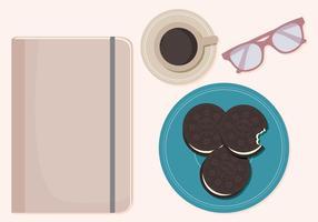 Ilustração vetorial de café e cookies vetor