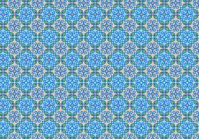 Padrão de mosaico floral azul vetor