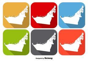 Emirados Árabes Unidos Mapa do Estado Ícone Vetores