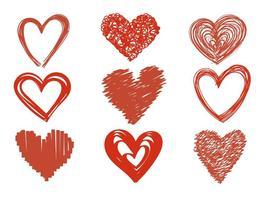 Ícones do vetor do coração desenhado à mão