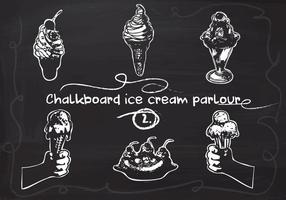 Free Hand Drawn Ice Cream definido no quadro-negro do quadro-negro vetor