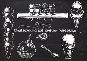 Free Hand Drawn Ice Cream definido no quadro-negro do quadro-negro