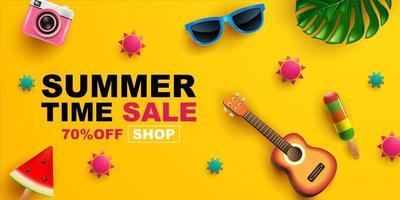 banner de venda verão com itens em amarelo vetor