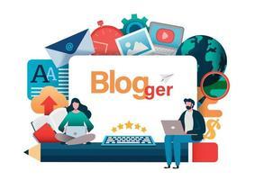 conceito de blogueiro com homem e mulher em laptops vetor