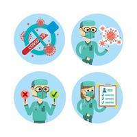 conjunto de gráficos de coronavírus de estilo cartoon