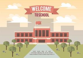Fundo livre do vetor da paisagem da escola