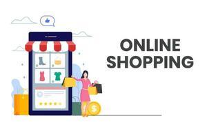 mulher feliz, compras on-line