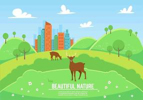 Paisagem livre do vetor com Deers