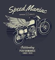 moto vintage com asas e texto maníaco de velocidade