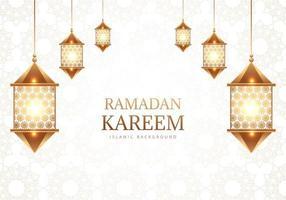 lâmpadas árabes decorativas de ramadan kareem no padrão branco