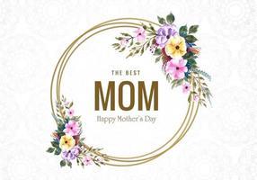 feliz dia das mães flores e cartão de quadro de círculo vetor