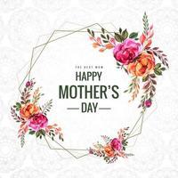 feliz dia das mães flores e cartão de moldura geométrica vetor