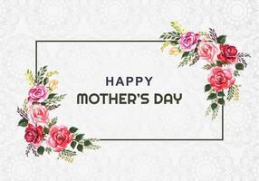 cartão de quadro de flor em aquarela feliz dia das mães vetor