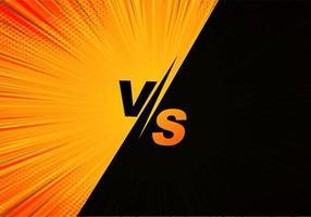 versus tela em quadrinhos em laranja e preto vetor