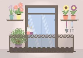 Vector Planta Filled Balcony Illustration