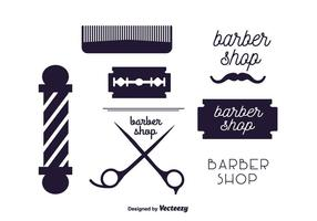 Conjunto vetorial de rótulos de barbeiro vetor