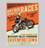 cartaz de corridas de moto antiga vetor