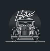 design de carro hotrod em escala de cinza