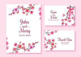 conjunto de cartão de casamento de flor de cerejeira vetor