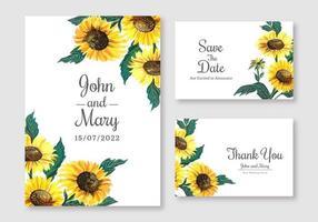 conjunto de cartão de casamento elegante girassol vetor
