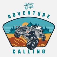 design de aventura com veículo off-road vetor