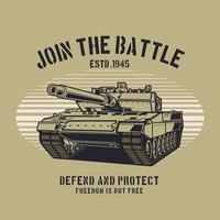 junte-se ao design do tanque militar de batalha vetor