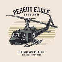 design retro de helicóptero militar clássico vetor