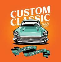 design de automóvel clássico vintage em gradiente laranja vetor