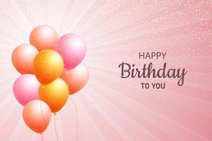 feliz aniversário balões cartão rosa fundo