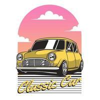 carro clássico amarelo e céu gradiente retrô
