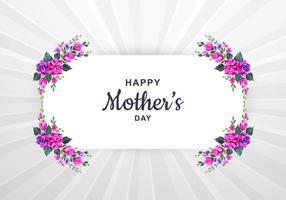cartão de dia das mães com moldura floral aquarela