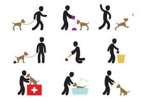 Ações de cuidado do cachorro vetor