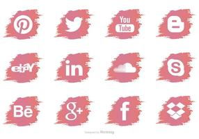 Ícones vetoriais de mídia social do pincel de pincel