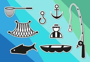 Ícone de ícones de rede de peixe vetor