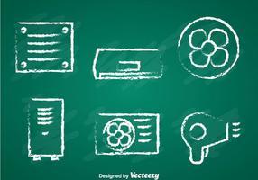 Sistema de ventilação e condicionamento Chalk Draw Icons