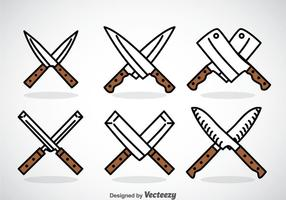 Conjuntos de ícones de faca cruzada vetor