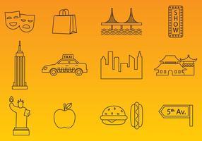 Vetores de ícones de linha de Nova York
