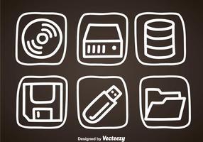 Ícones de desenho de mão de armazenamento digital vetor