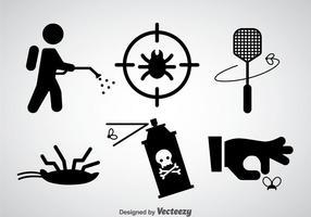 Vetor de ícones pretos de controle de pragas