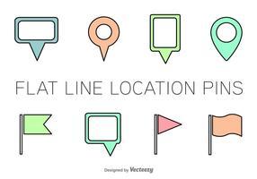 Ícones do vetor do Pin da localização da linha